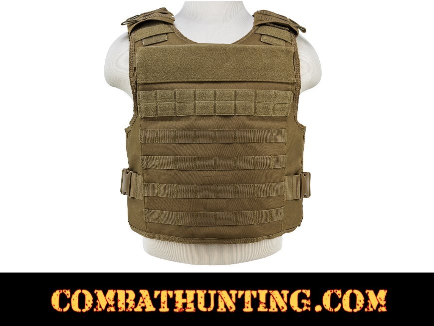 Armor Plate Carrier Vest with MOLLE Webbing Tan/FDE MED-2XL style=