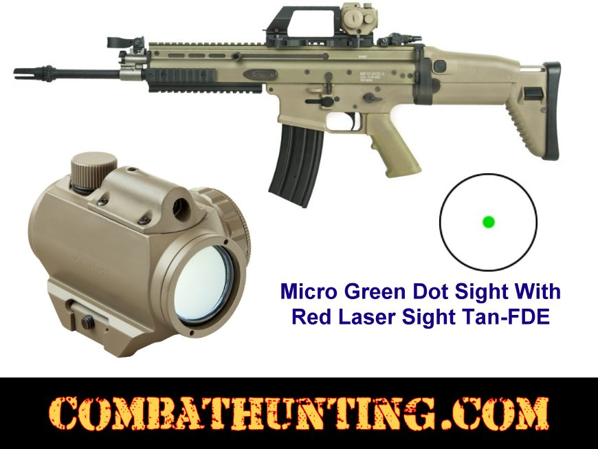 Micro Green Dot With Red Laser Tan/FDE style=