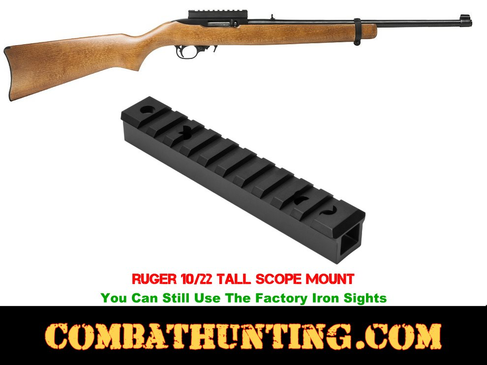 Ruger 10/22 Receiver Picatinny Tall Rail Scope Mount Black style=