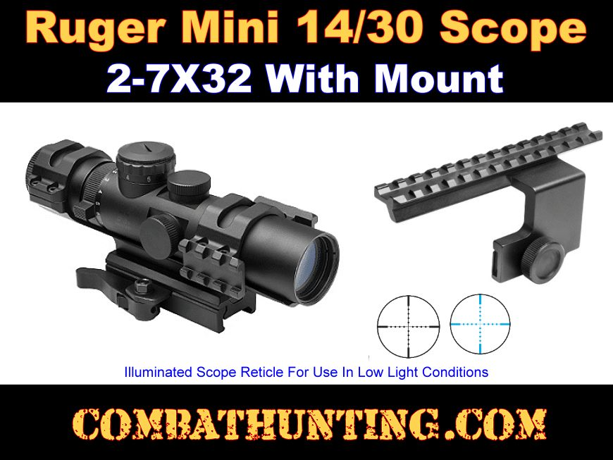 Ruger Mini 14/30 Scope and Side Mounted Scope Rail Mount style=