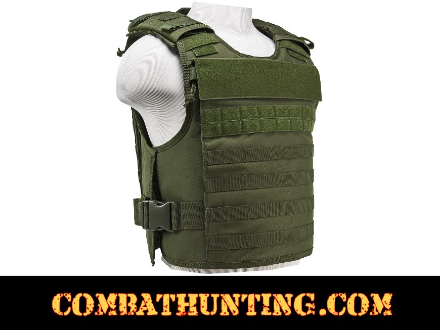 Armor Plate Carrier Vest with MOLLE Webbing Green MED-2XL style=