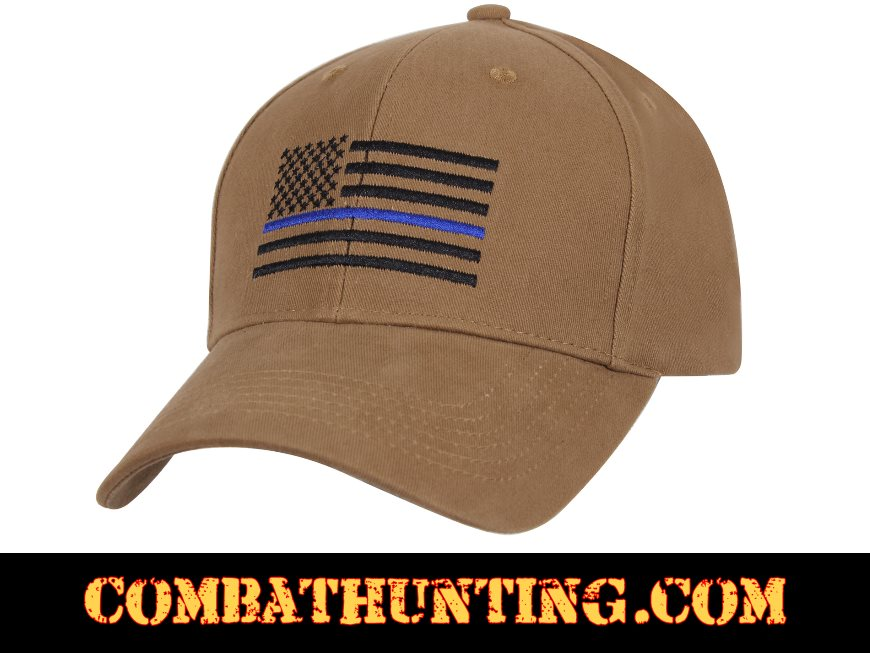5c8f5a0758c 4372 Thin Blue Line Flag Cap Low Profile Coyote Brown - Military Hats  Baseball Caps