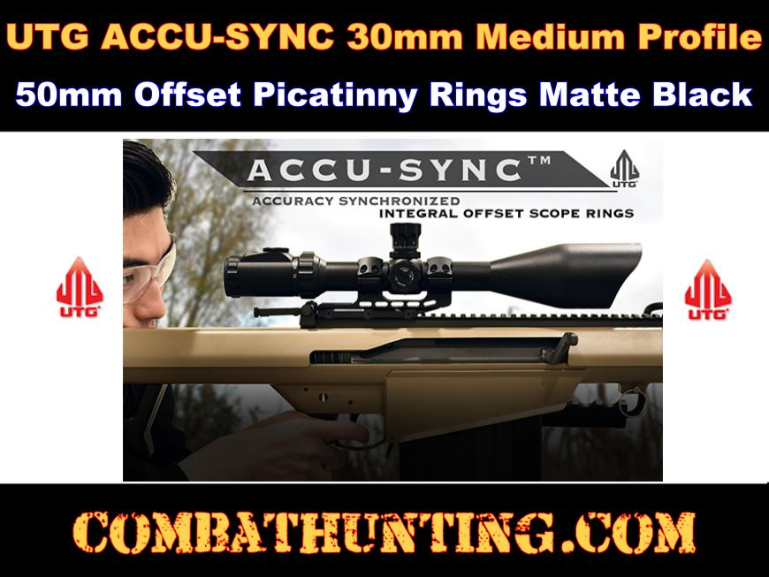 UTG ACCU-SYNC 30mm Medium Profile 50mm Offset Picatinny Rings style=