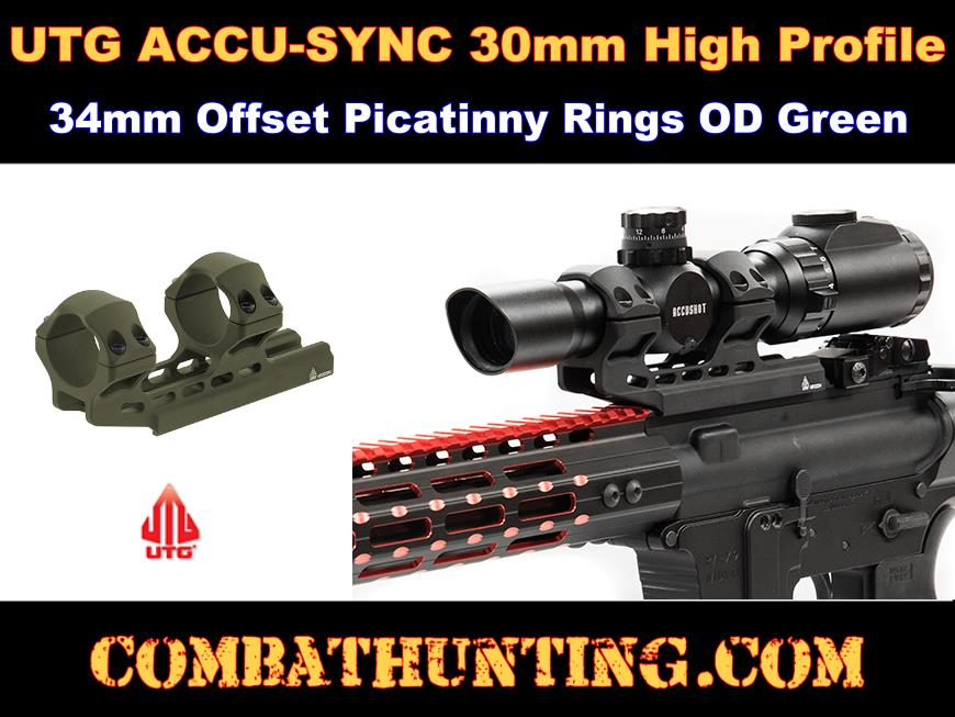 UTG ACCU-SYNC 30mm High Pro. 34mm Offset Pic. Rings OD Green style=