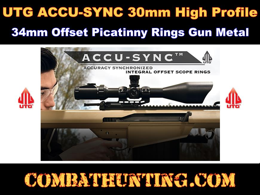UTG ACCU-SYNC 30mm High Pro 34mm Offset Pic. Rings Gun Metal style=