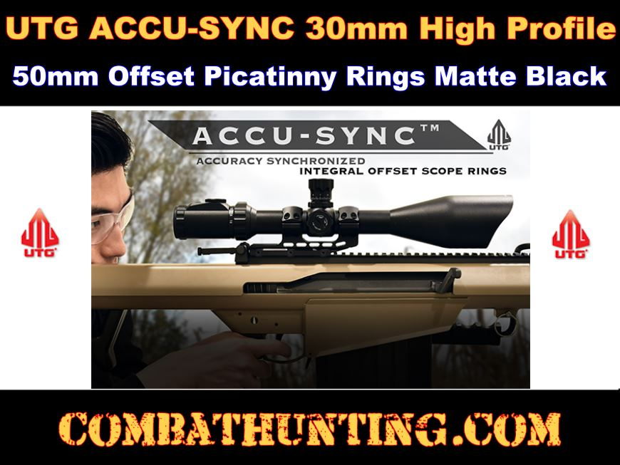 UTG ACCU-SYNC 30mm High Pro. 50mm Offset Picatinny Rings style=