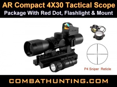 NcStar AR 4X30 Scope With Tri-Rail Mount Reddot & Rings