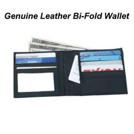 Mens Solid Genuine Leather Bifold Wallet