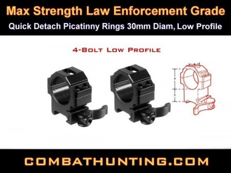 Quick Detach Picatinny Rings 30mm LowProfile