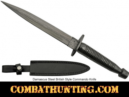 Damascus Fixed Blade Commando Knife With Leather Sheath