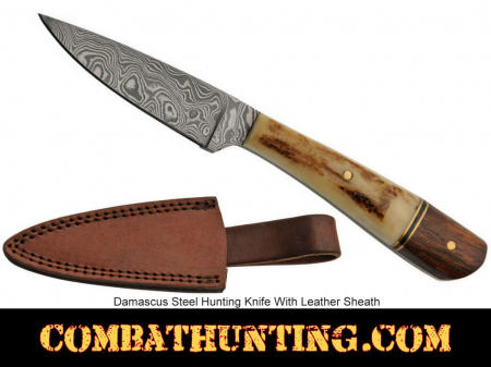 Damascus Steel Blade Hunting Knife With Leather Sheath