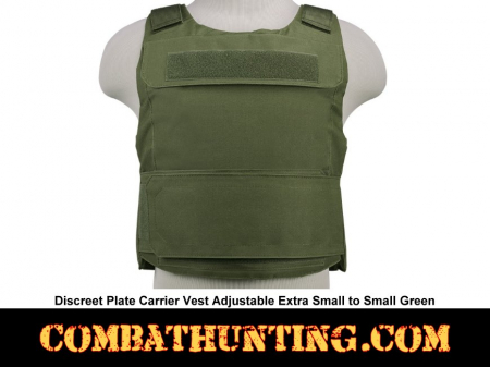 Discreet Plate Carrier Vest Adjustable Extra Small to Small Green