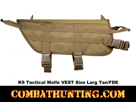 K9 Tactical Molle VEST Size Large Tan/FDE
