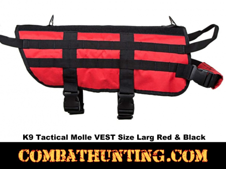 K9 Tactical Molle VEST Size Larg Red With Black Trim