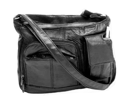 Genuine Leather Shoulder Bag w/Cell Phone Holder