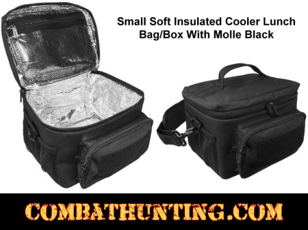 Small Black Soft Insulated Cooler Lunch Bag/Box With Molle