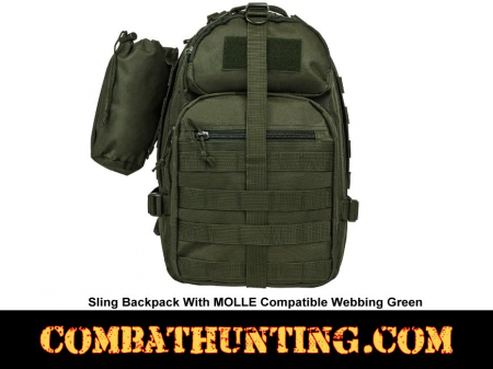 Sling Backpack With MOLLE Compatible Webbing Green