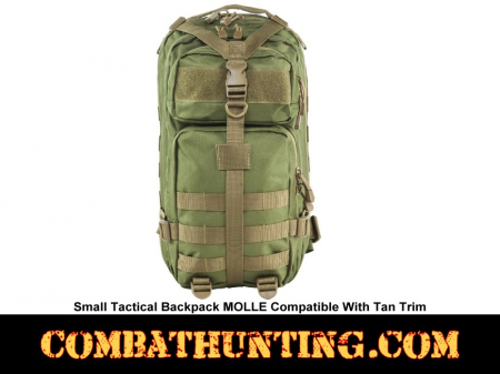 Small Tactical Backpack MOLLE Green With Tan Trim