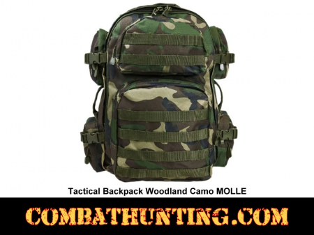 Tactical Backpack Woodland Camo MOLLE