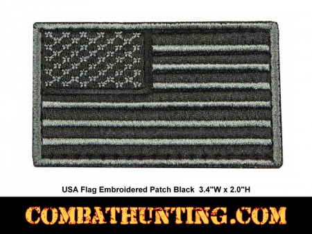 USA Flag Embroidered Patch Black Velcro