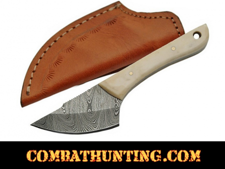 Damascus Steel Caping Knife / Skinning Knife With Bone Handle