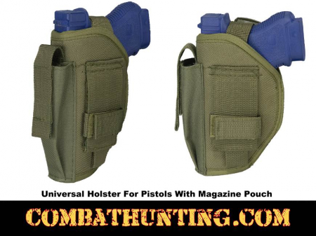 Universal Holster For Pistols With Magazine Pouch Green