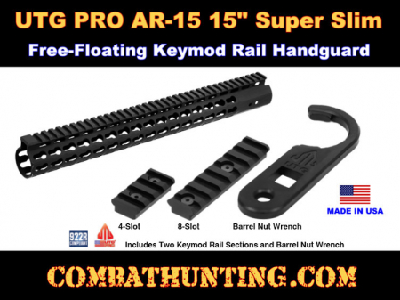 UTG PRO AR15 15  Super Slim Free Float Keymod Compatible Rail