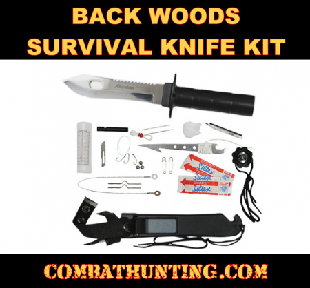 Outdoorsman's Survival Knife With Compass Survival Kit