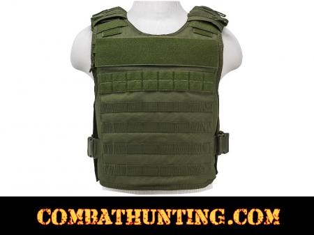 Armor Plate Carrier Vest with MOLLE Webbing Green MED-2XL