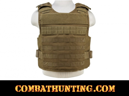 Armor Plate Carrier Vest with MOLLE Webbing Tan/FDE MED-2XL