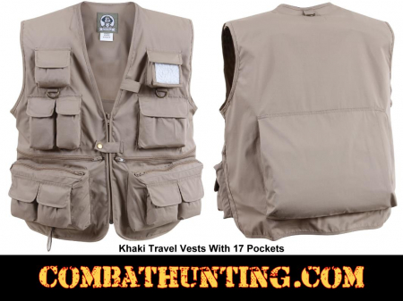 Khaki Travel Vest With Pockets